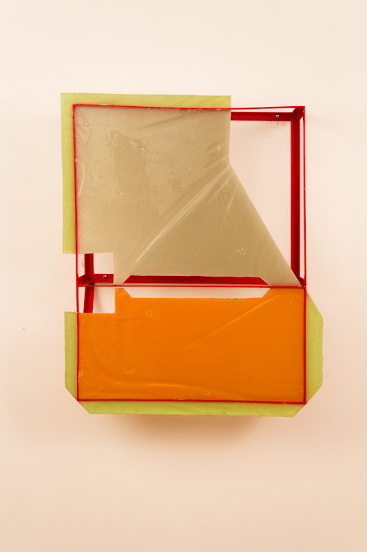 Jesse A. Greenberg  Popular Defense   2012 Plastic, pigment, steel and spray paint 29 ½ x 22 ¼ x 7 ¾ in/ 74.9 x 56.5 x 19.7 cm