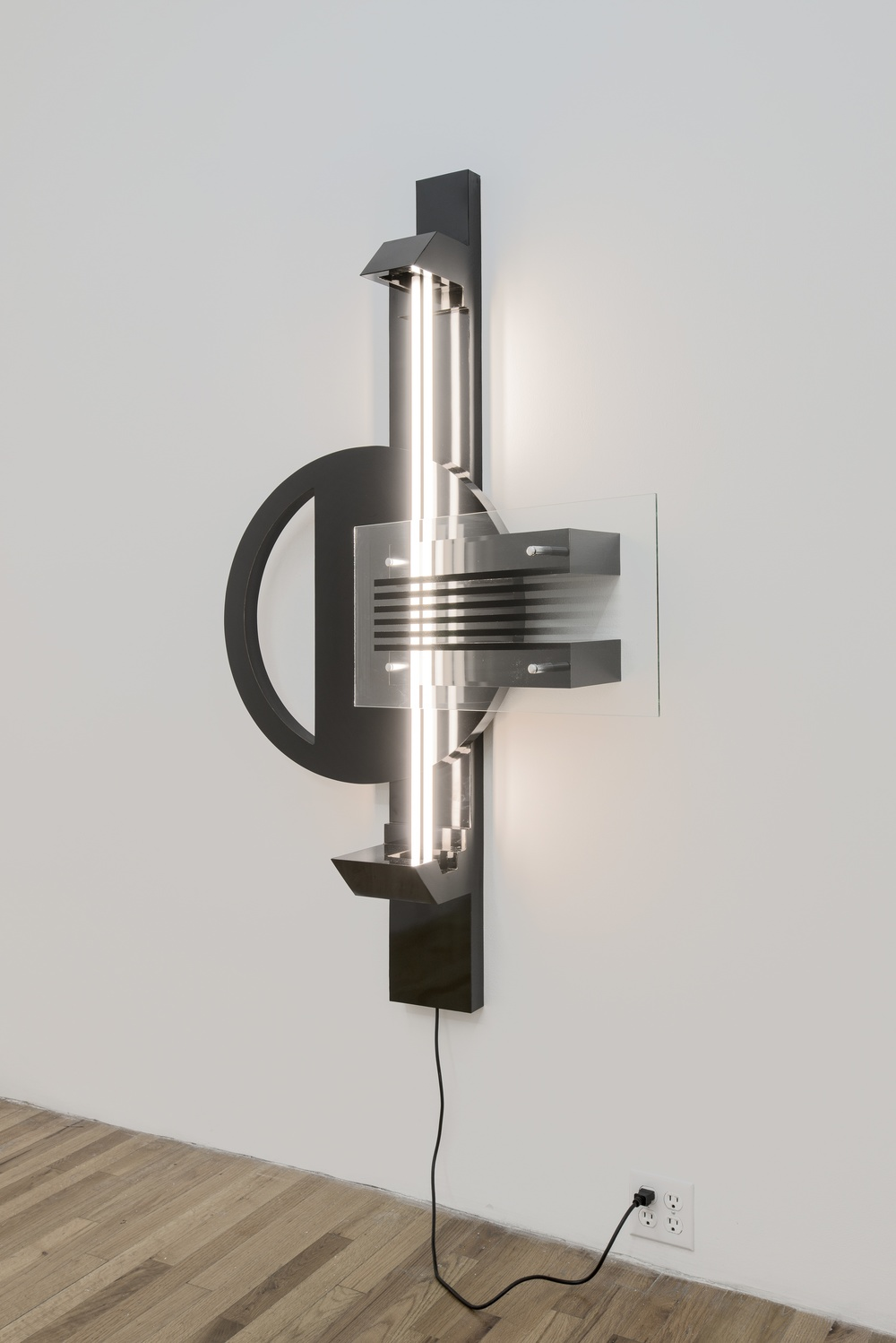 Ryan Lauderdale  Black Lamp   2014 Formica, wood, hardware, fluorescent, and spray paint on glass 65 x 40 x 12 in/ 165 x 101.6 x 30.5 cm