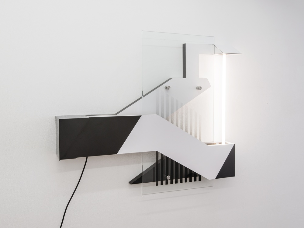 Ryan Lauderdale  Jog Lamp   2014 Formica, wood, hardware, fluorescent and spray paint 32 x 36 x 5 ¼ in/ 81.3 x 91.4 x 13.3 cm