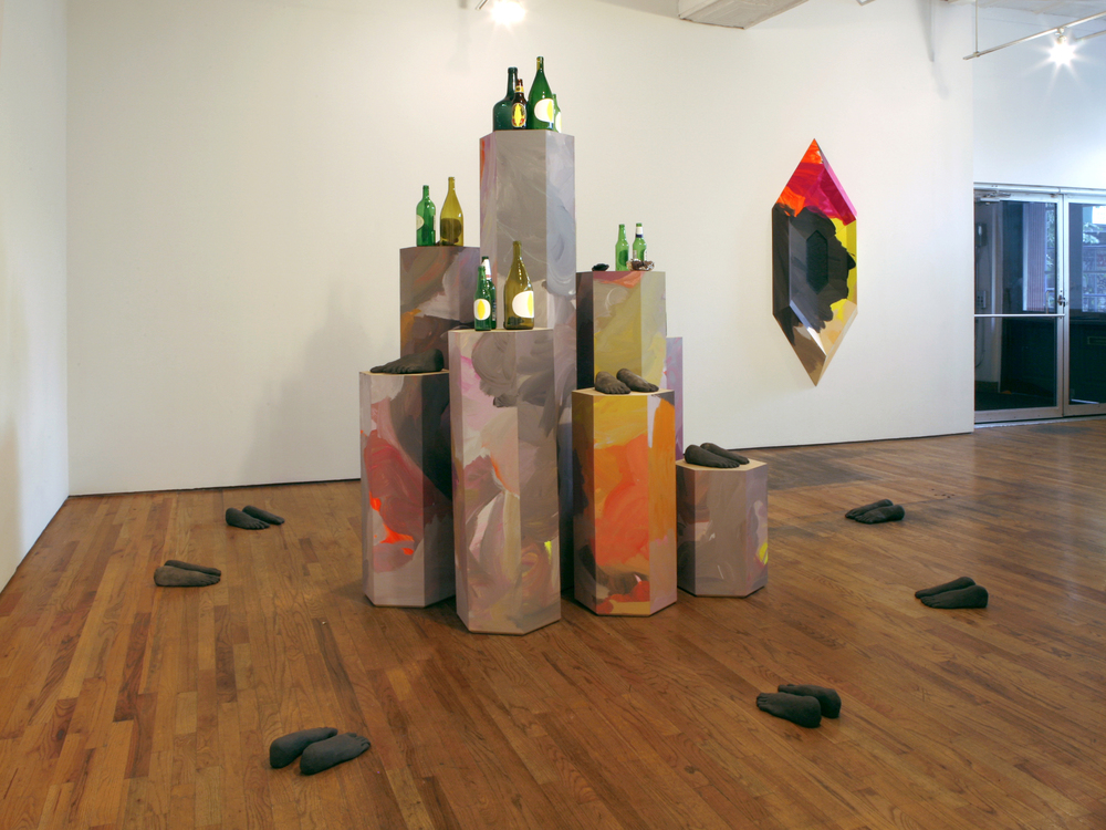 The Birds   2008  *Installation view  MDF, bottles, self-hardening clay, aluminum foil, epoxy putty, paper, gouache and acrylic paint  90 x 132 x 132 in/ 228.6 x 335.3 x 335.3 cm