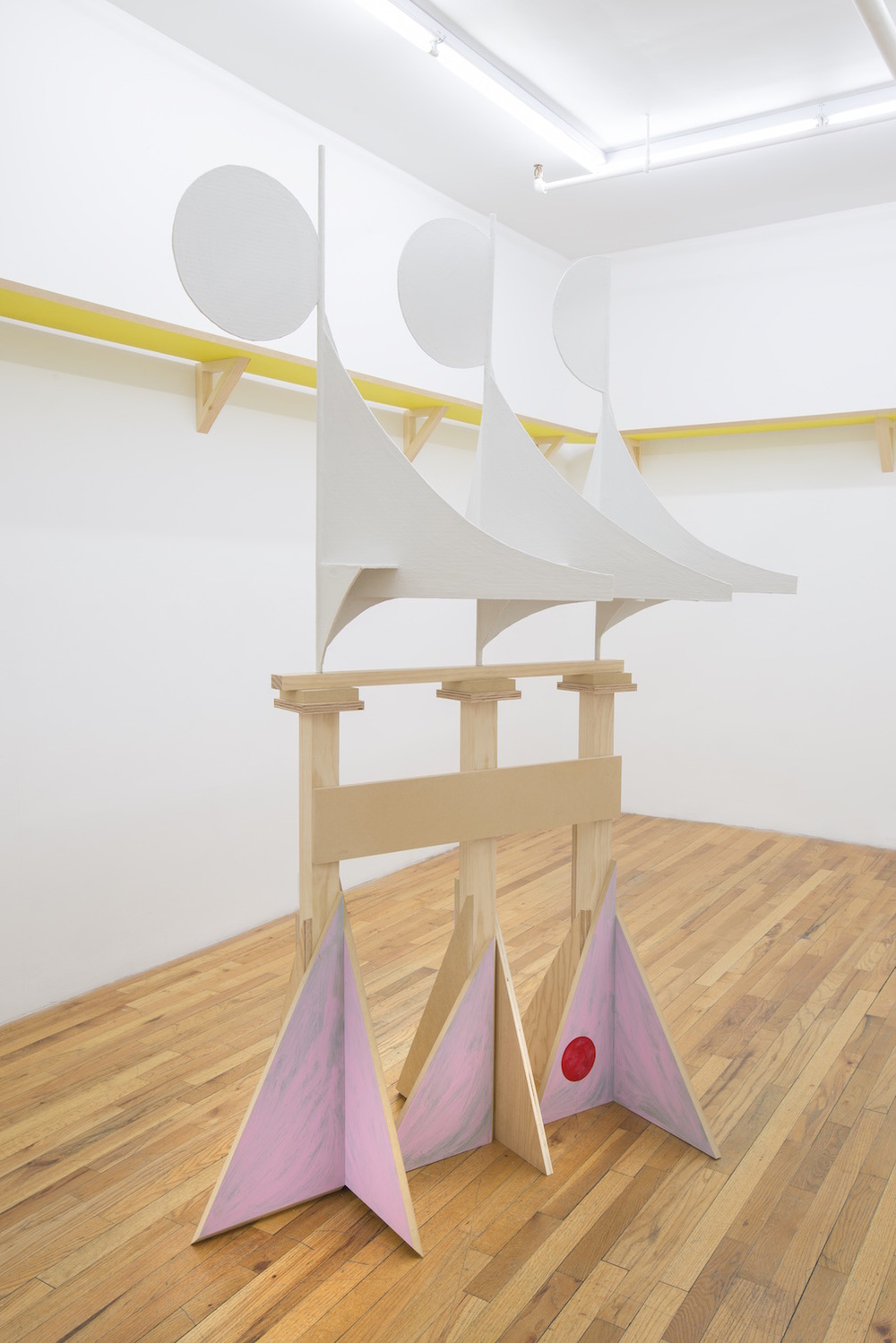 Matisse's Metronome   2015  Wood, steel rod, cardboard, synthetic polymer and plaster  83.5 x 56 x 34 in/ 212 x 142.2 x 86.3 cm