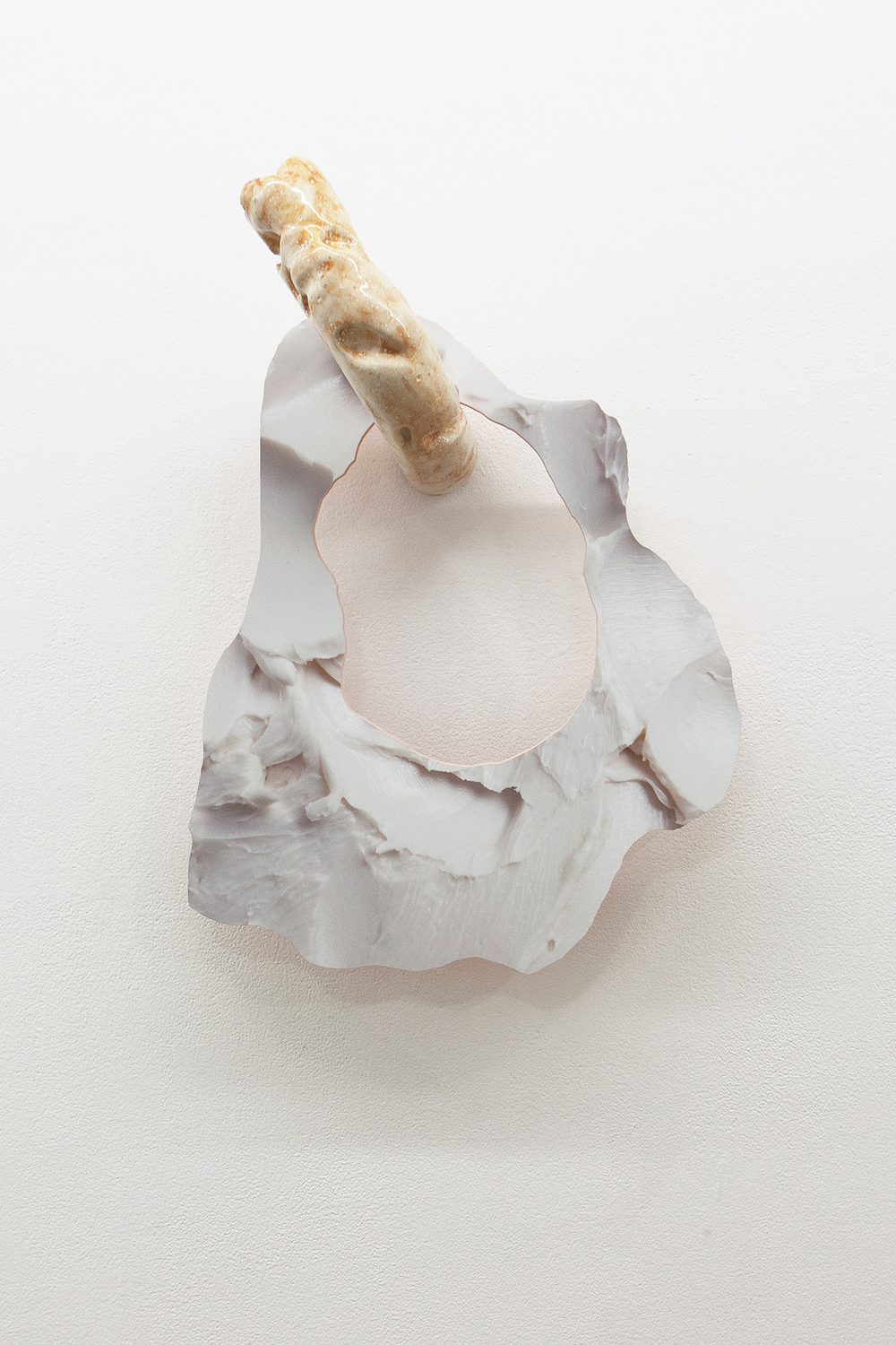 Soft Inquiry IV   2015  Ceramic and archival inkjet print on PVC  21 x 16 x 8.5 cm/ 53.3 x 41 x 21.6 cm
