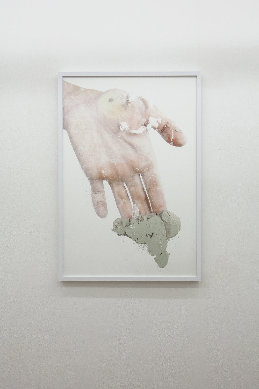 Human Hand Pressing Clay on Glass   2015  Archival inkjet print on Hahnemuhle photo rag paper  36.5 x 25 in/ 93 x 64 cm  FRAMED