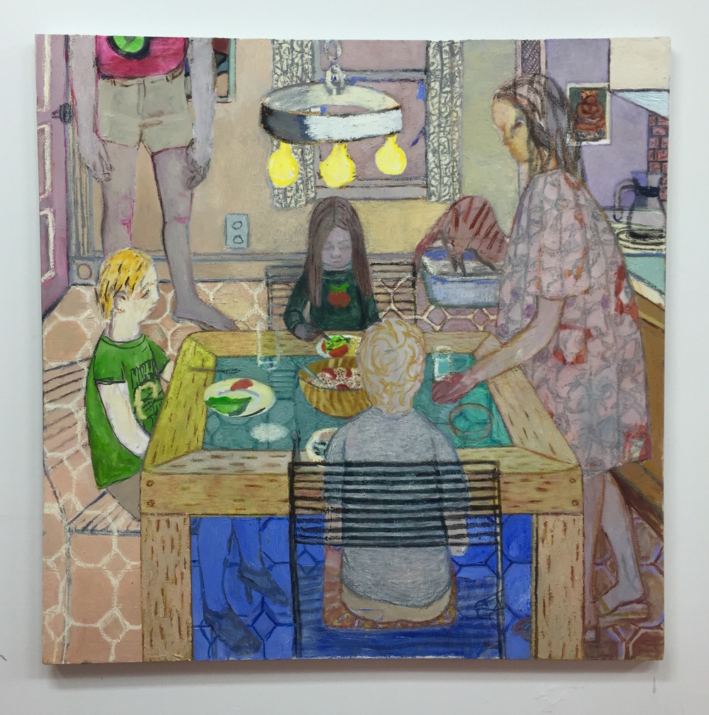 Nora Riggs   Vegetarians   2015  Oil on canvas  47 x 47 in/ 119.4 x 119.4 cm