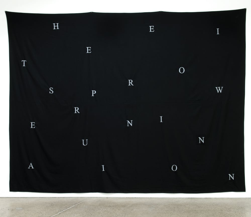 Christopher Hanrahan   A Stage (for BF)   2012  Embroidered fabric  100 x 130 in/ 254 x 330 cm