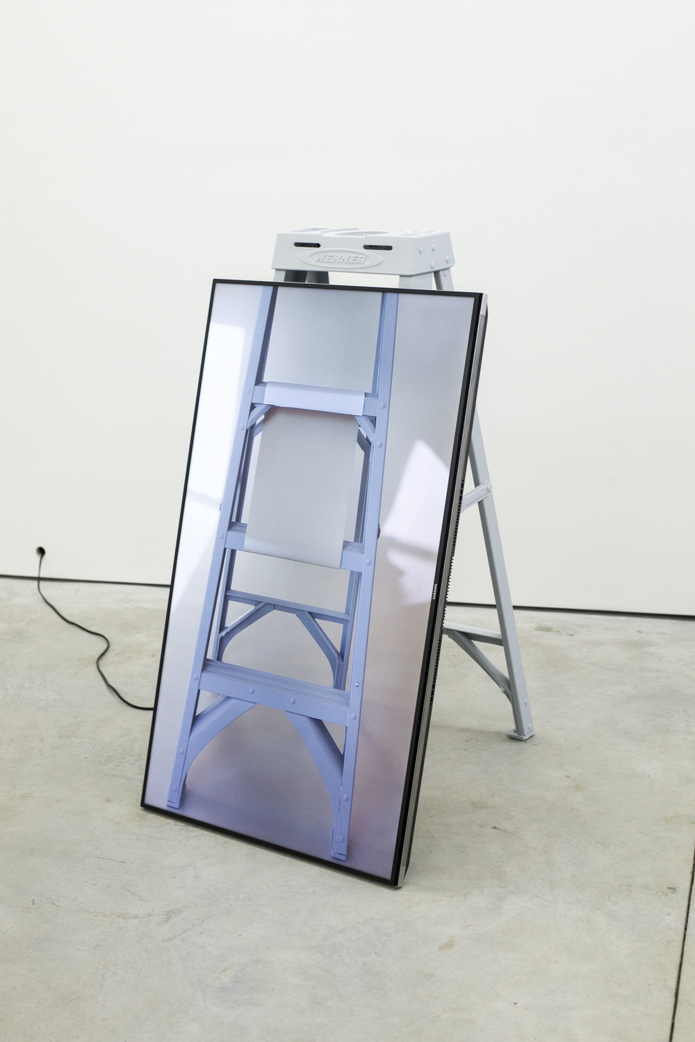 Scott Nedrelow   Viewfinder Sculpture   2016  Single-channel ultra high-definition video, inkjet print, ladder  46 x 25 x 30 in/ 116.8 x 63.5 x 76.2 cm
