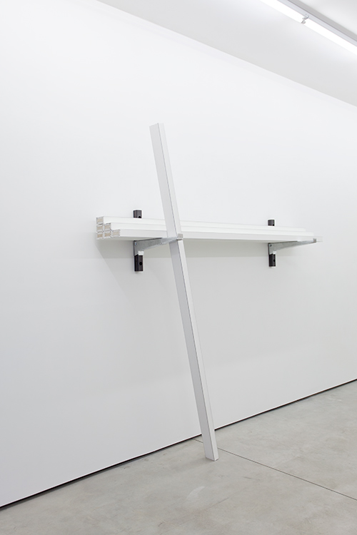 Seven Eight Foot Two By Fours , 2016 Gypsum wallboard, wood, steel 94 1/2 x 96 x 19 1/2 in / 240 x 243.8 x 49.6 cm
