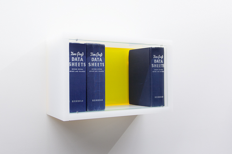 Don Don Don , 2016 Acrylic sheet (PMMA), books, stainless steel, glass In 7 parts 8 3/4 x 204 3/4 x 5 3/4 in / 22 x 520 x 14.5 cm