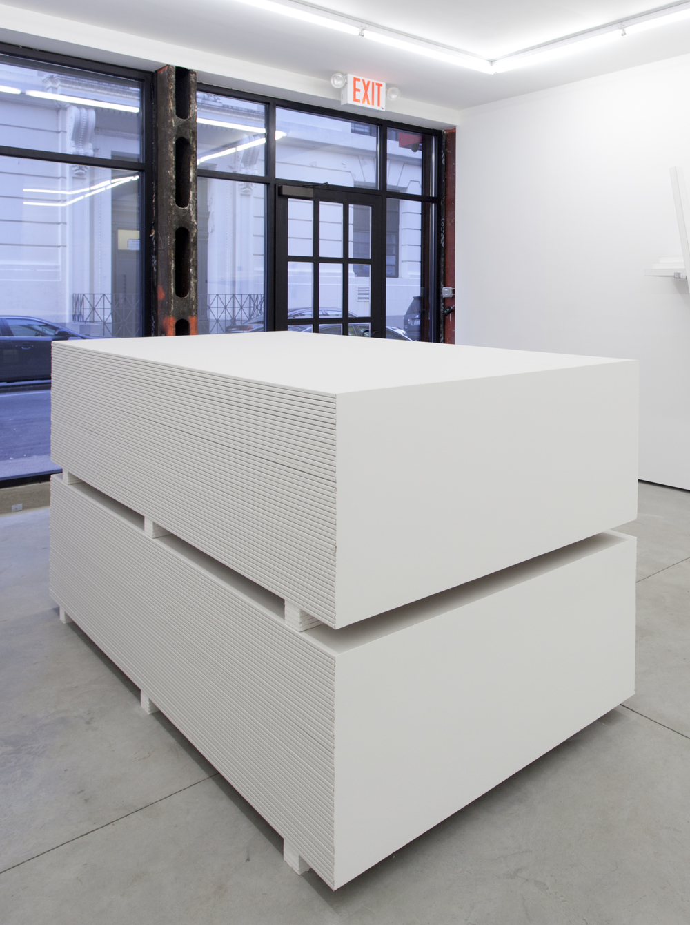 American Stack , 2016 Gypsum wallboard and wallboard compound 50 1/2 x 48 x 96 in / 128.3 x 121.9 x 243.8 cm