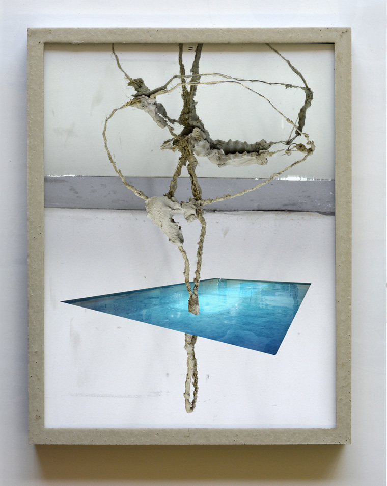 AmendMar (Korrektur)   2015 Collage and pencil on paper in cast concrete frame 10.75 x 11.75 in / 27.5 x 30 cm
