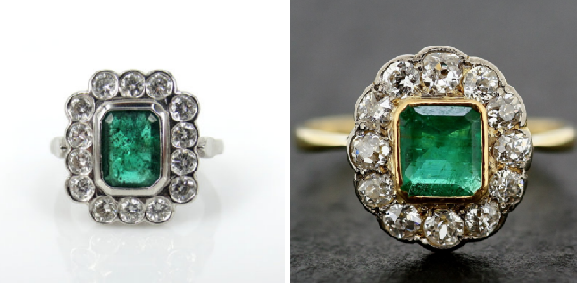 Edwardian Platinum Emerald & Diamond                                                  Art Deco Emerald Ring
