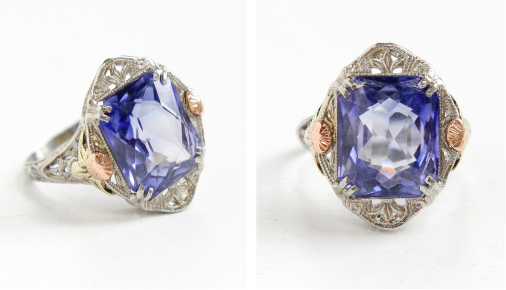 Art Deco  14k gold created sapphire ring , with yellow & rose gold accents