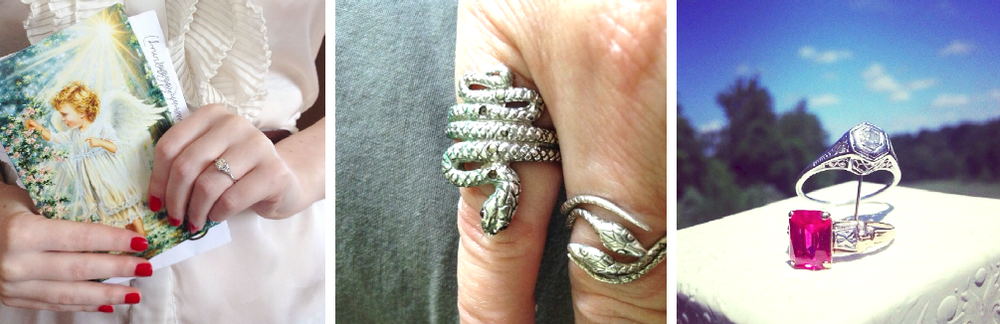 More vintage rings from our shop worn and displayed beautifully by customers.
