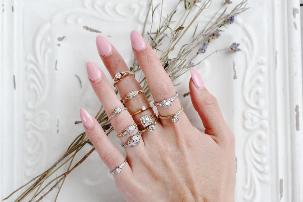 Vintage diamond rings from Maejean Vintage