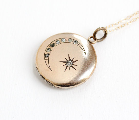 Darling Victorian Antique 10k Gold Filled Etched Star & Moon Rhinestone Locket.