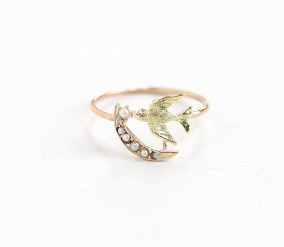 Delicate Stick Pin conversion Ring with a Antique 10K Rose & Yellow Gold Swallow Figure & Seed Pearl Crescent Moon Ring.