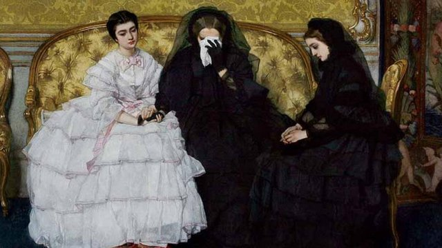 Victorian women weeping wearing black mourning garb.