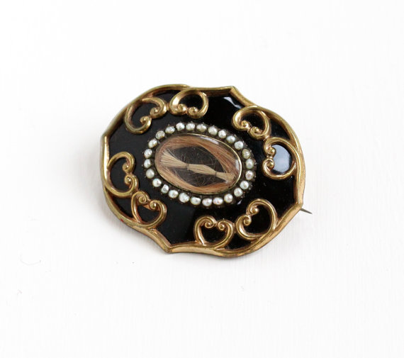Sweet & Rare Antique Black Enamel Seed Pearl Hair Brooch Dating From Mid 1800's.