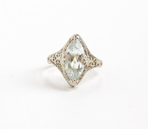 Antique White Gold  Aquamarine  Ring