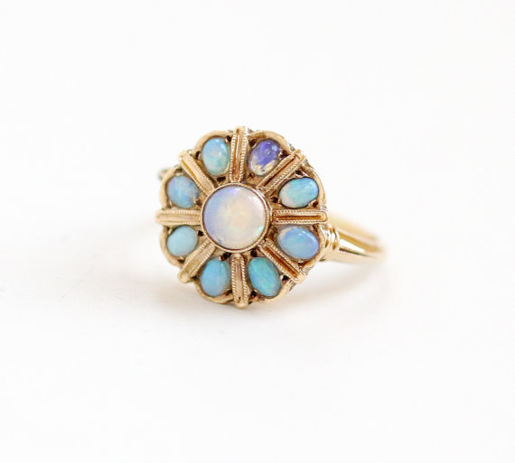 Antique Yellow Gold Blue Opal Cluster Ring