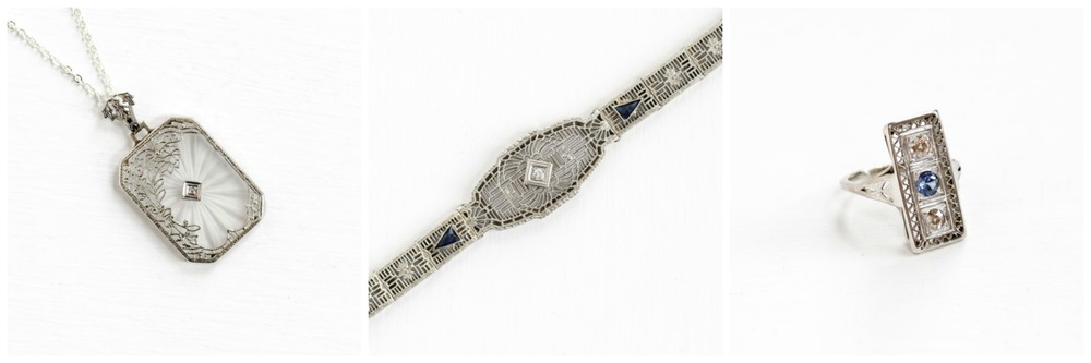 Antique  Diamond Camphor Necklace , Antique Diamond Simulated  Sapphire Bracelet , Antique  Sapphire Diamond  Ring