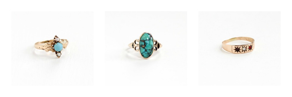 Antique Turquoise & Seed Pearl Ring, Antique Turquoise Ring, Antique Genuine Opal Ring