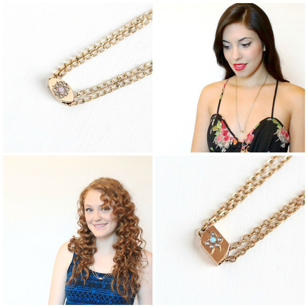 Top left : Antique Opal & Seed Pearl Watch Chain Necklace, Bottom right : Antique Opal & Seed Pearl Slide Chain Necklace, Lovingly modeled by our beautiful Maejean Vintage girls!