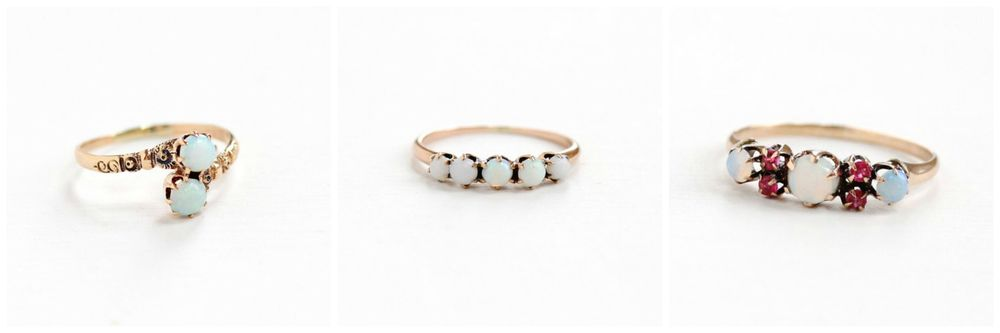 Antique Toi Et Moi Opal  Ring , Antique Rose Gold Opal  Band , Antique Opal & Simulated Ruby  Ring