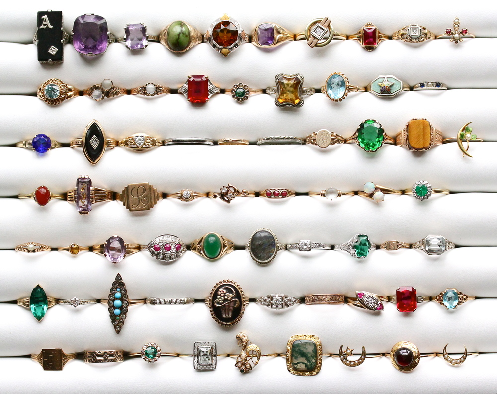 Some of our favorite vintage gold & platinum rings we purchased from the September Brimfield show!