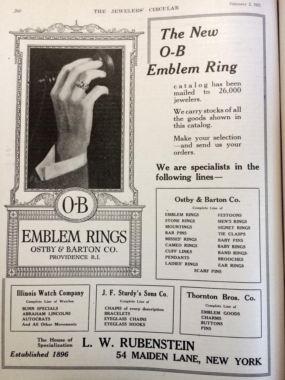 1921 OB Emblem Rings Advertisement