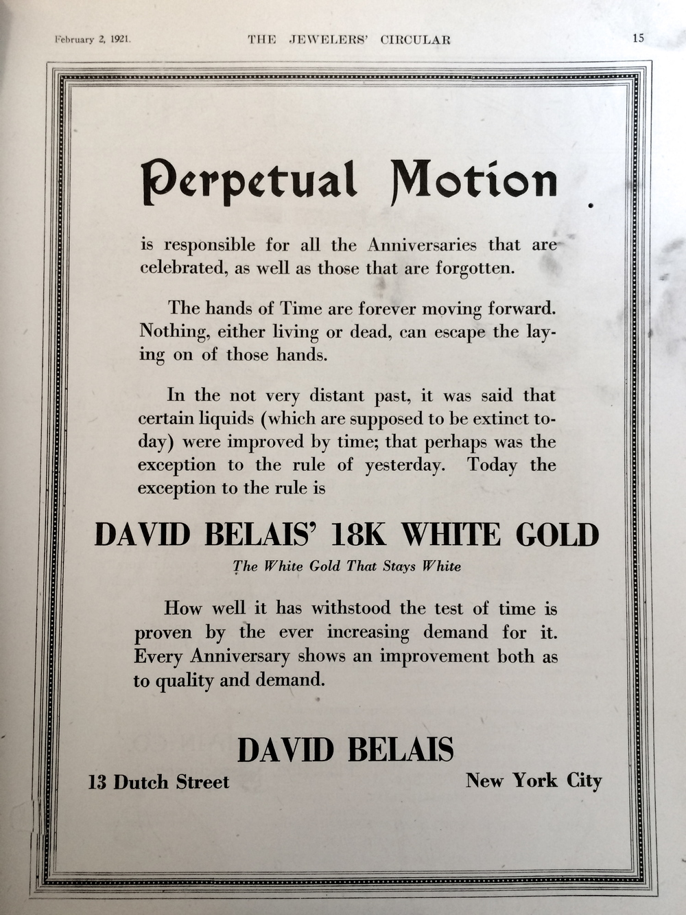 """David Belais'18k White Gold. The White Gold That Stays White"""