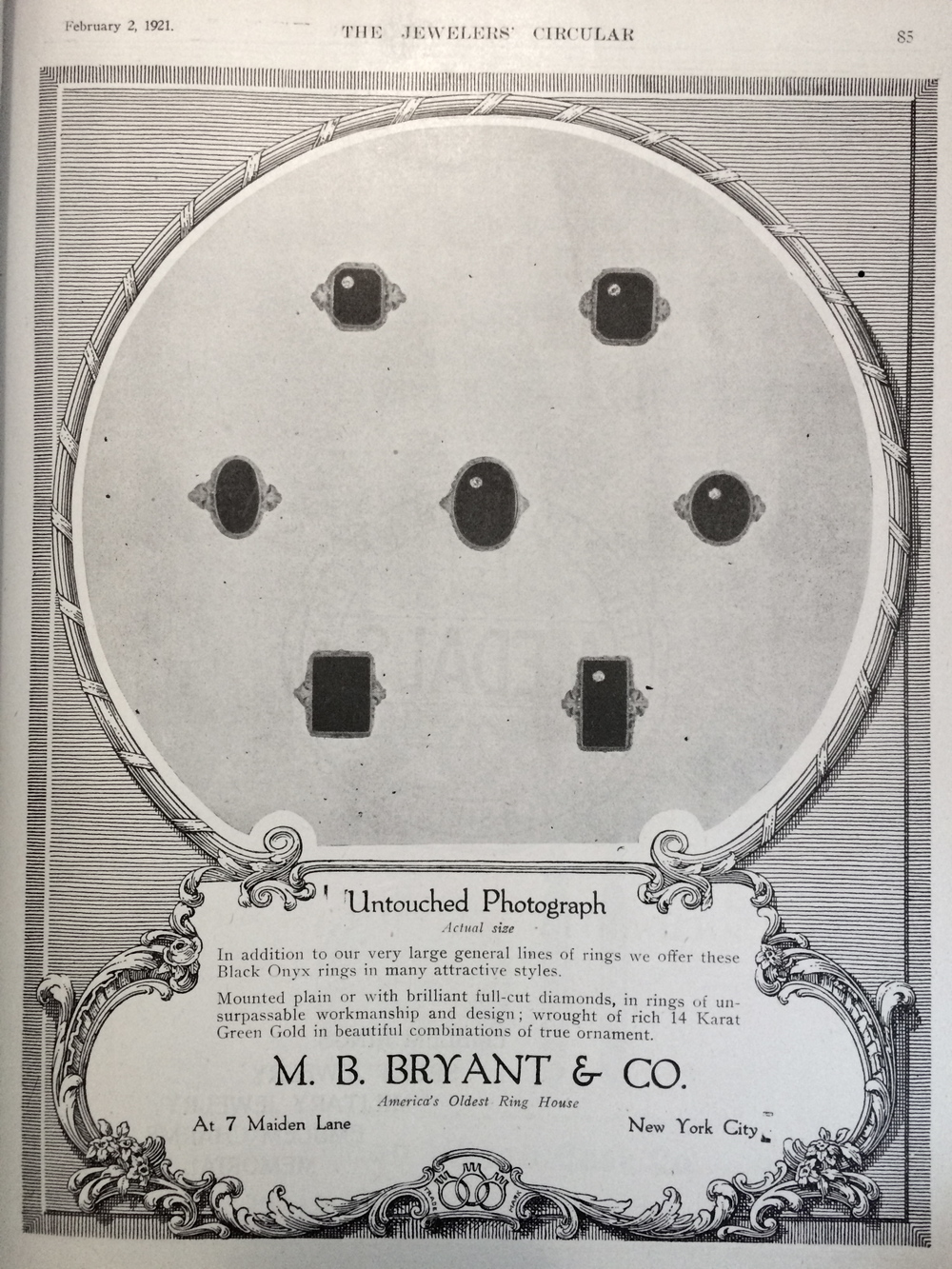 Early 1920s advertisement for the ring manufacturing company, M.B. Bryant & Co.