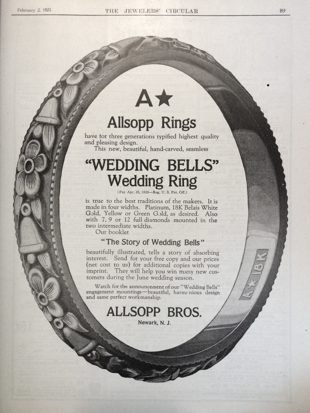 """Allsop rings have for three generations typified highest quality and pleasing design"". Allsop Bros advertisement from 1921, Jeweler's Circular."