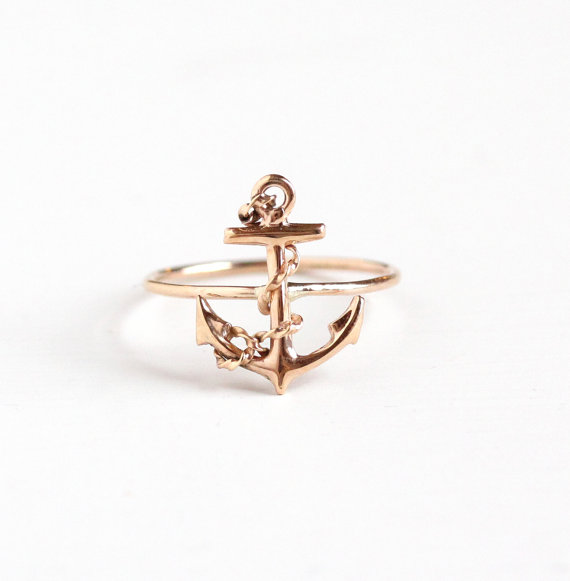Antique Anchor Stick Pin Conversion Ring via  MaejeanVintage