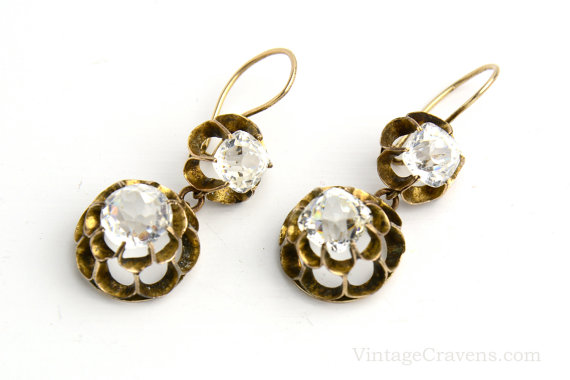 Antique Victorian Paste Buttercup Earrings via  VintageCravens