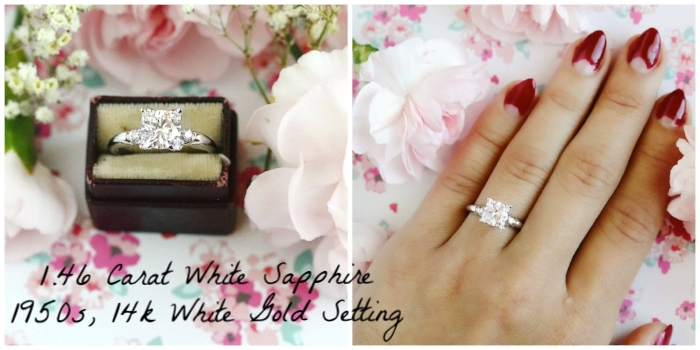 --> Our 1.46 carat white sapphire ring, in a 1950s 14k white gold setting with diamond accents
