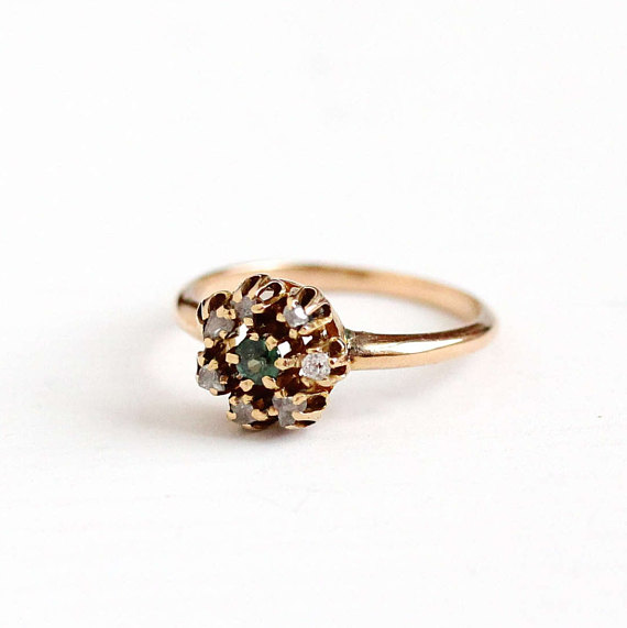 Antique Diamond & Garnet Cluster Ring
