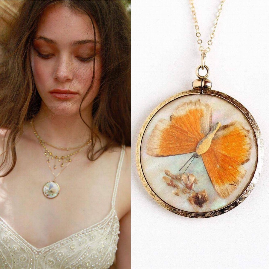 Vintage double sided butterfly pendant:  shop  now
