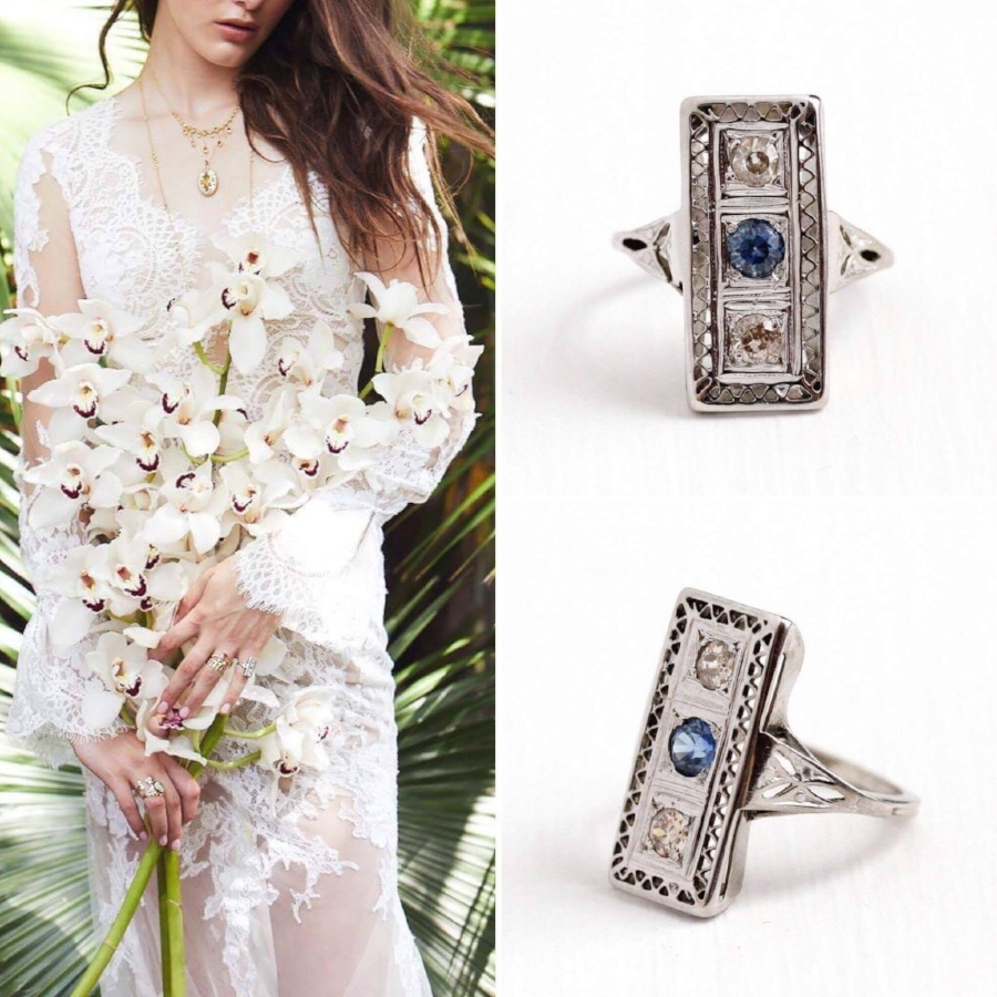 Vintage Art Deco diamond and sapphire ring:  shop  now
