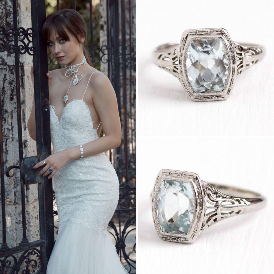 Vintage Art Deco aquamarine ring:  shop  now