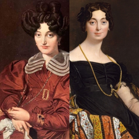 Madame Marcotte Sainte Marie    wearing a lorgnette chain &    Madame Jacques-Louis Leblanc    wearing a locket chain // Jean-Auguste-Dominique Ingres