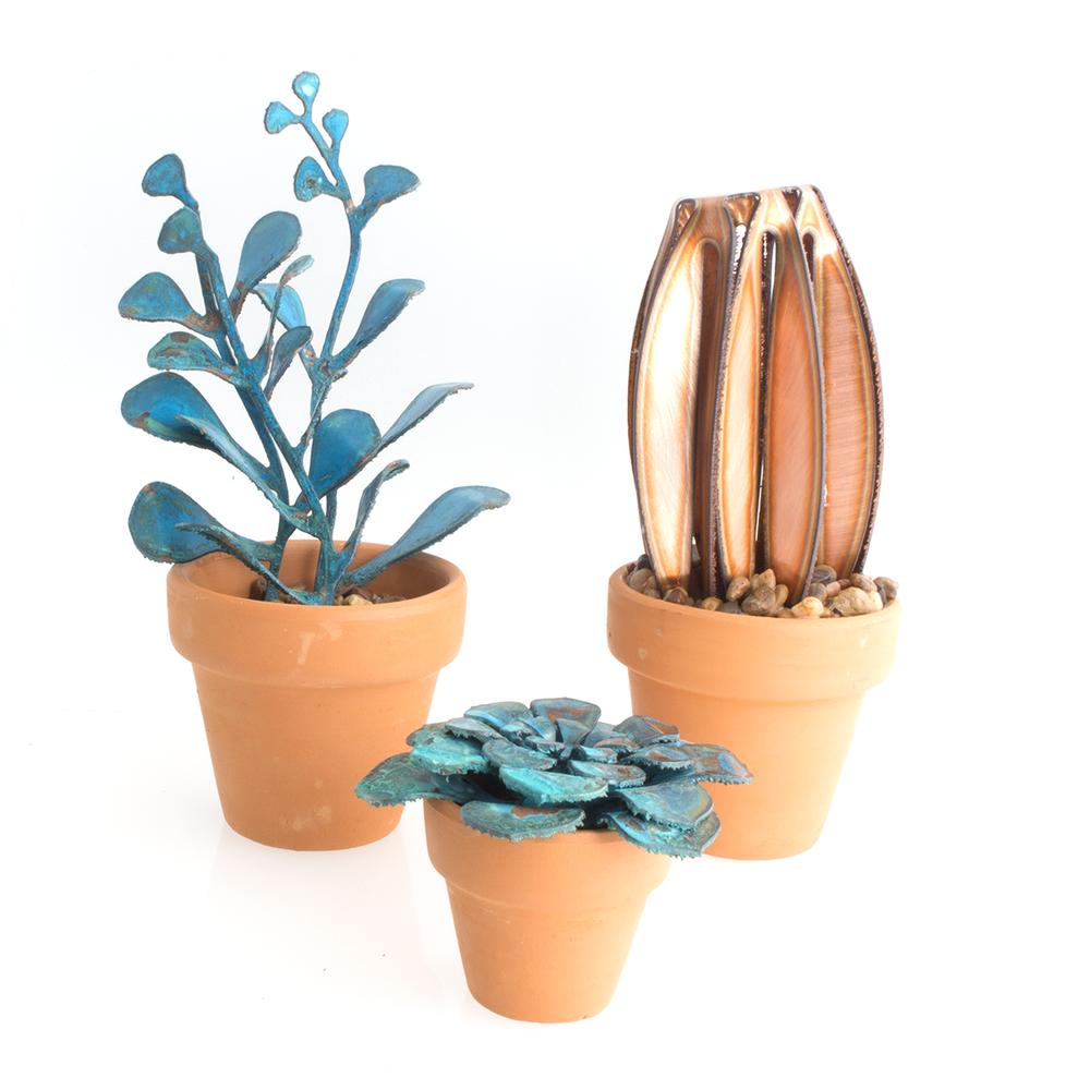 Metal succulents by Hayley and Kyle Gowen