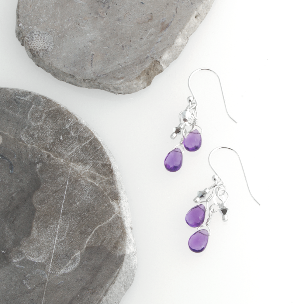 Amy's lovely double drop amethyst earrings.
