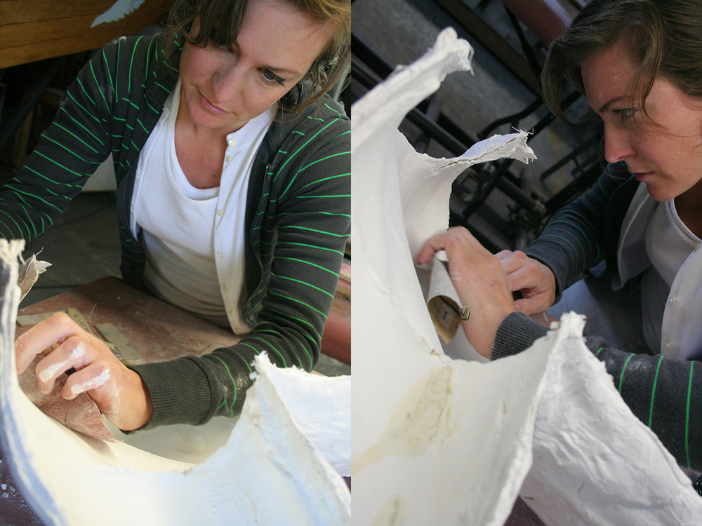 Primary materials: plaster, plaster gauze, clay, a variety of resins, and polyurethane foam.  Photos by Kerri Anne Delight.