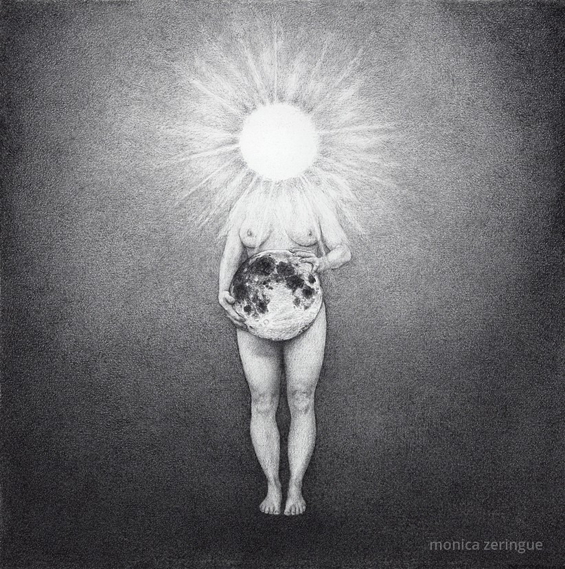 "Radiant   2014, graphite on primed linen, 12"" x 12"""
