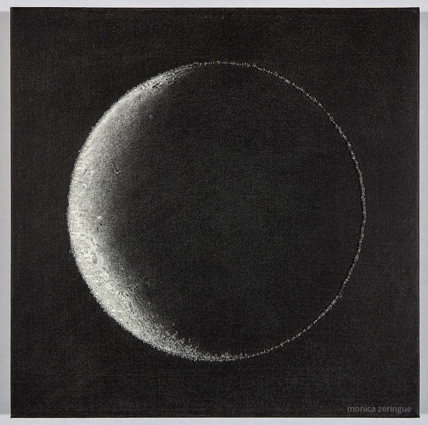 "Moon of Other Days   2013, graphite and hand-sewn beads on primed linen, 12"" x 12"""