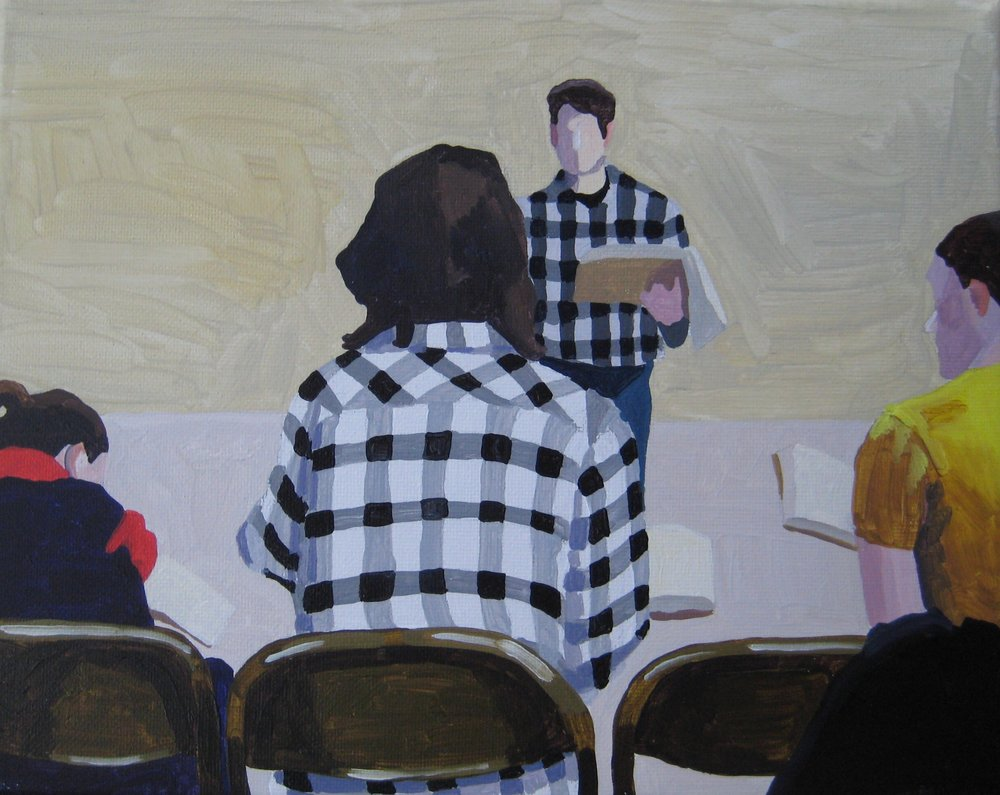 "Shape Note Singers in Plaid, acrylic on canvas, 10""x8"""
