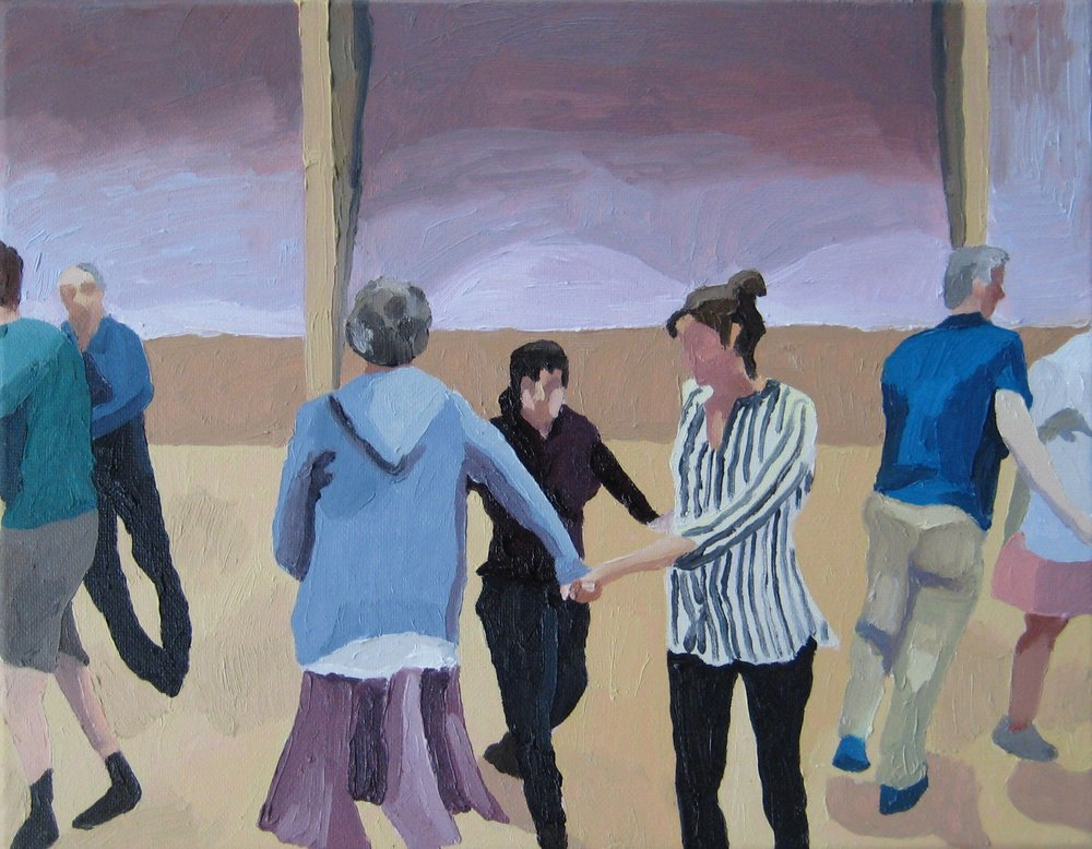 "Contra Dance, oil on canvas, 14""x11"""