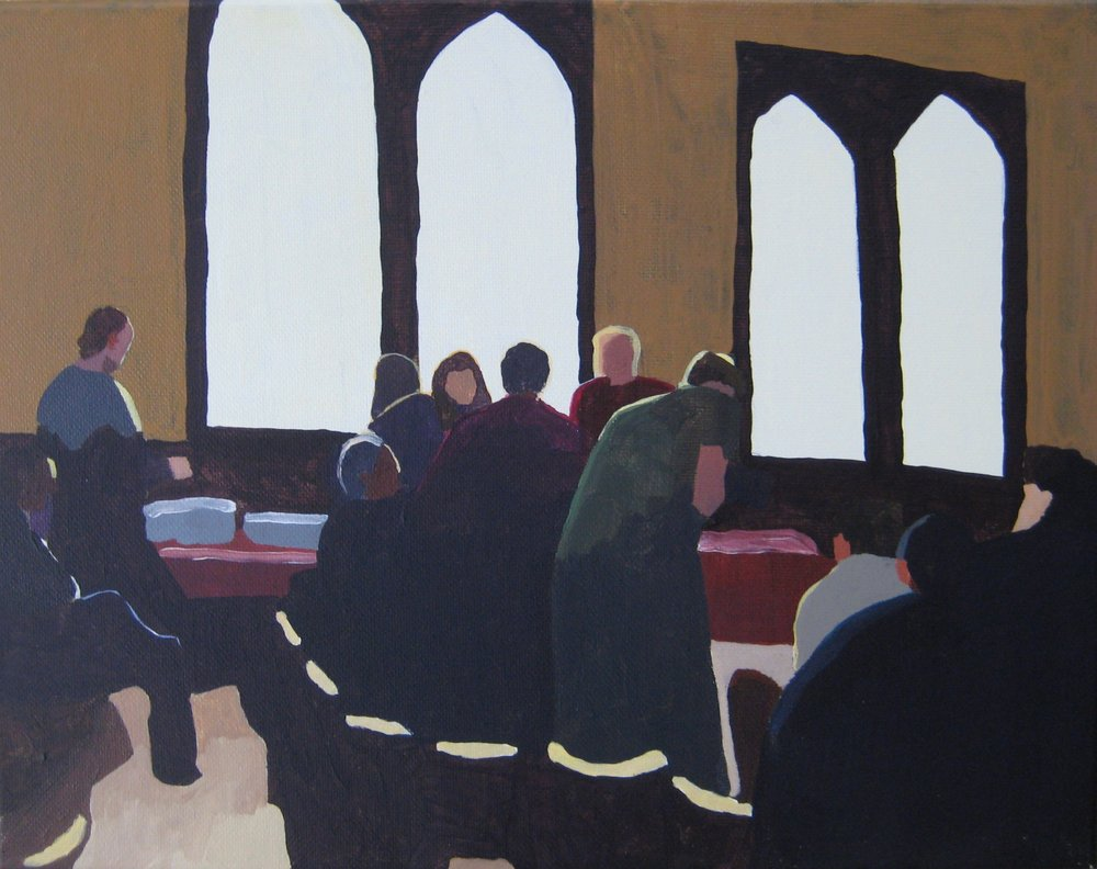 "Singing Social at St. Mary's, acrylic on canvas, 14""x11"""