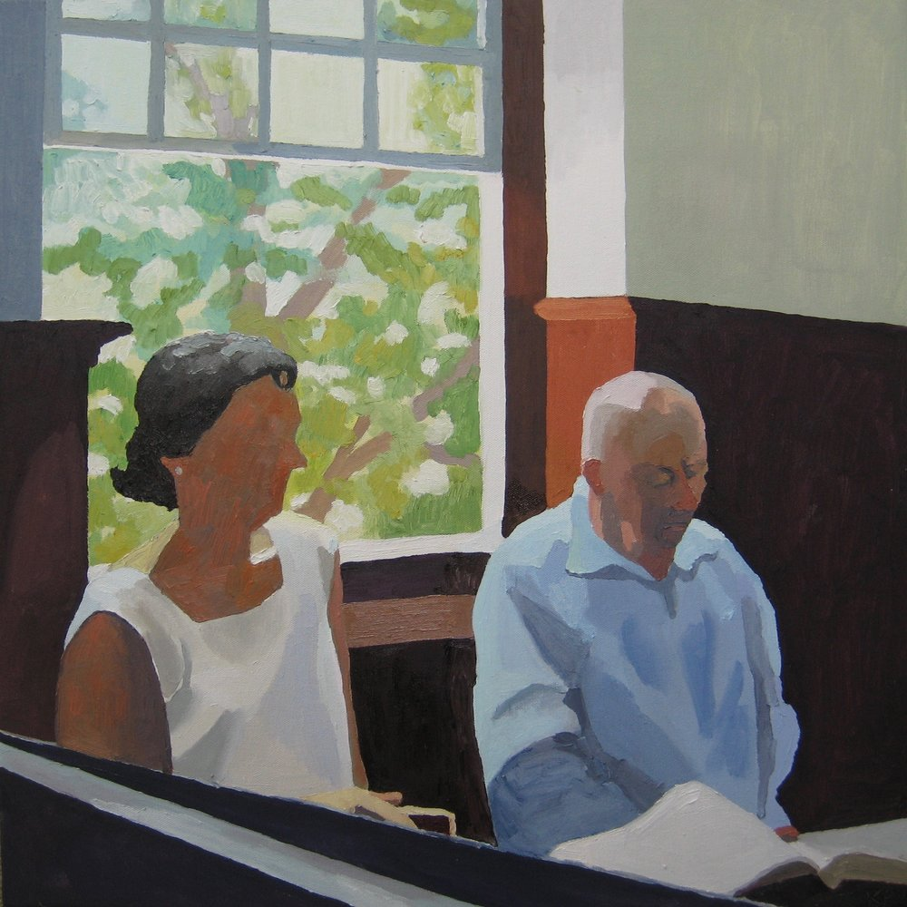 "Singers in the Back Row, oil on canvas, 24""x24"""